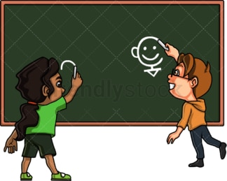 Kids drawing on chalkboard. PNG - JPG and vector EPS file formats (infinitely scalable). Image isolated on transparent background.