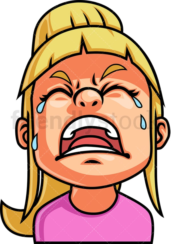 Little girl crying out loud face. PNG - JPG and vector EPS file formats (infinitely scalable). Image isolated on transparent background.