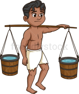 Male slave carrying water buckets. PNG - JPG and vector EPS (infinitely scalable).
