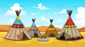 Native american village background in 16:9 aspect ratio. PNG - JPG and vector EPS file formats (infinitely scalable).