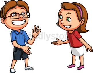 Boy and girl having a conversation. PNG - JPG and vector EPS (infinitely scalable).