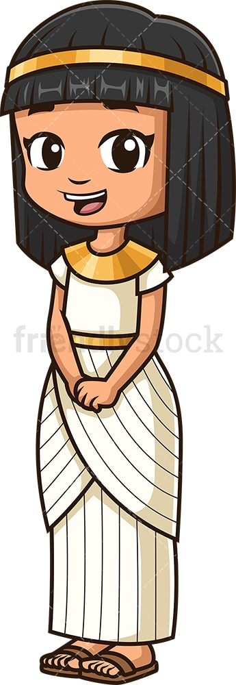 Ancient egyptian little girl. PNG - JPG and vector EPS file formats (infinitely scalable). Image isolated on transparent background.