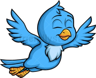Blue bird in flight. PNG - JPG and vector EPS (infinitely scalable). Image isolated on transparent background.