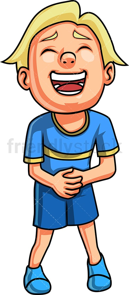Boy bursting into laughter. PNG - JPG and vector EPS. Isolated on transparent background.