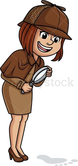 Caucasian female detective. PNG - JPG and vector EPS (infinitely scalable).