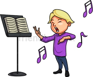 Caucasian little boy singing. PNG - JPG and vector EPS. Isolated on transparent background.