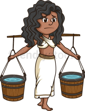 Female slave carrying water. PNG - JPG and vector EPS (infinitely scalable).