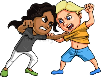 Girl and boy fighting. PNG - JPG and vector EPS (infinitely scalable).