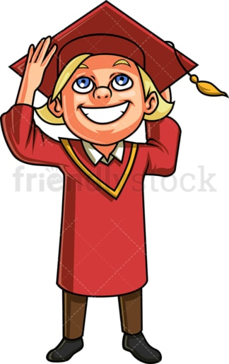 Boy at graduation ceremony. PNG - JPG and vector EPS. Isolated on transparent background.