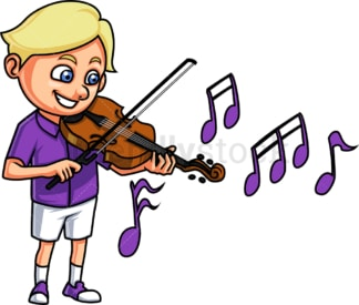 Little boy playing violin. PNG - JPG and vector EPS. Isolated on transparent background.