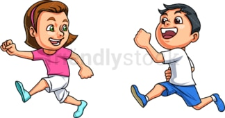 Kids chasing each other. PNG - JPG and vector EPS file formats (infinitely scalable). Image isolated on transparent background.