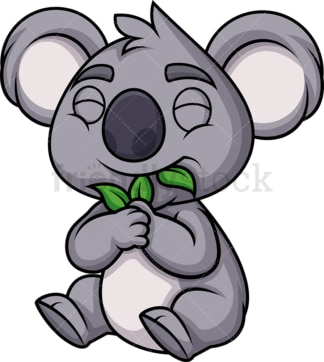 Koala bear eating leaves. PNG - JPG and vector EPS (infinitely scalable). Image isolated on transparent background.