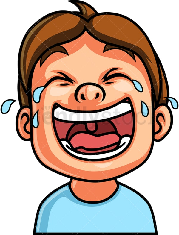Little boy laughing out loud face. PNG - JPG and vector EPS file formats (infinitely scalable). Image isolated on transparent background.