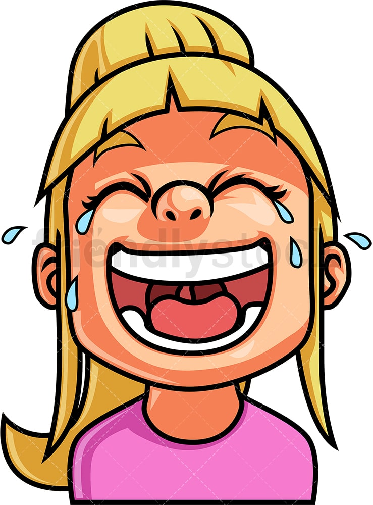 Little Girl Laughing Out Loud Face Cartoon Vector Clipart