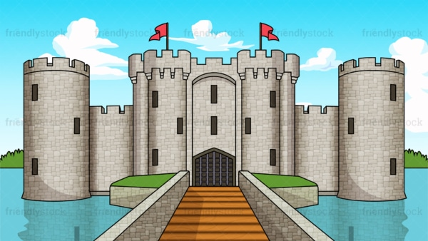 Medieval fortress castle background in 16:9 aspect ratio. PNG - JPG and vector EPS file formats (infinitely scalable).