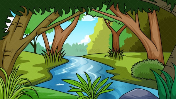 River in jungle background in 16:9 aspect ratio. PNG - JPG and vector EPS file formats (infinitely scalable).