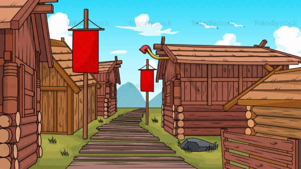 Viking village background in 16:9 aspect ratio. PNG - JPG and vector EPS file formats (infinitely scalable).