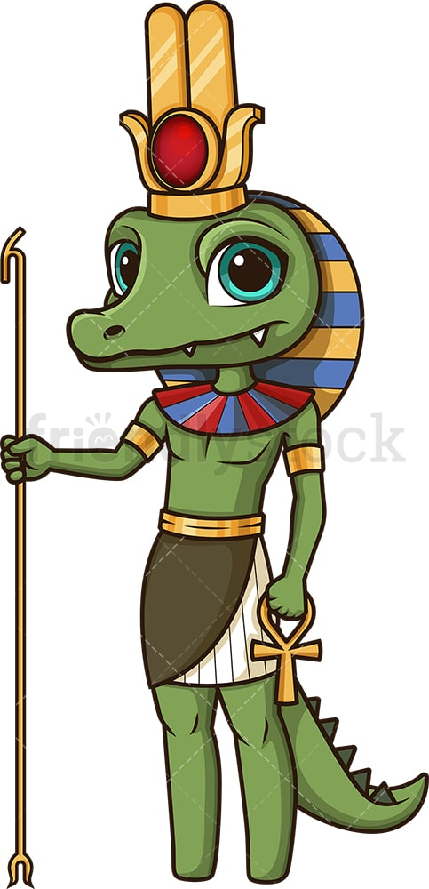 Ancient egyptian god sobek. PNG - JPG and vector EPS file formats (infinitely scalable). Image isolated on transparent background.