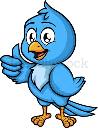 Blue bird thumbs up. PNG - JPG and vector EPS (infinitely scalable). Image isolated on transparent background.