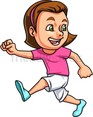 Girl running and laughing. PNG - JPG and vector EPS. Isolated on transparent background.