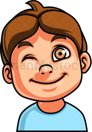 Little boy winking face. PNG - JPG and vector EPS file formats (infinitely scalable). Image isolated on transparent background.