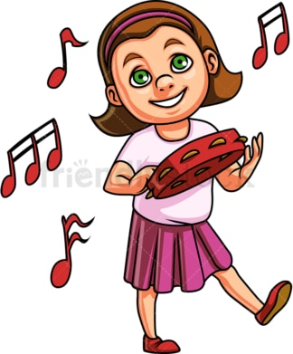 Kid girl playing tambourine. PNG - JPG and vector EPS. Isolated on transparent background.