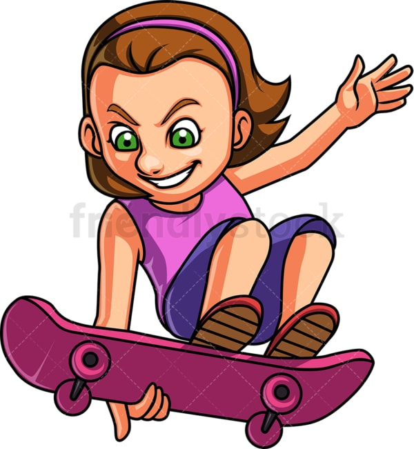 Little girl skateboarding. PNG - JPG and vector EPS. Isolated on transparent background.