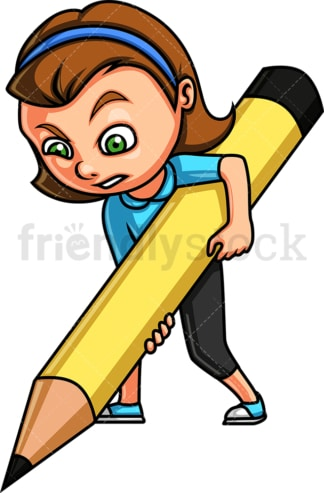 Girl kid holding large pencil. PNG - JPG and vector EPS. Isolated on transparent background.