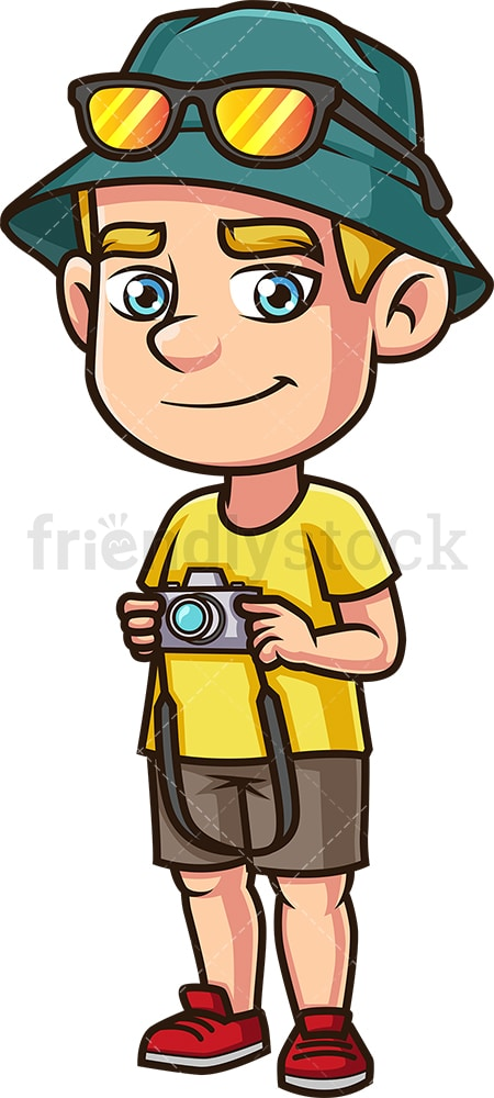 Male tourist with camera. PNG - JPG and vector EPS (infinitely scalable).