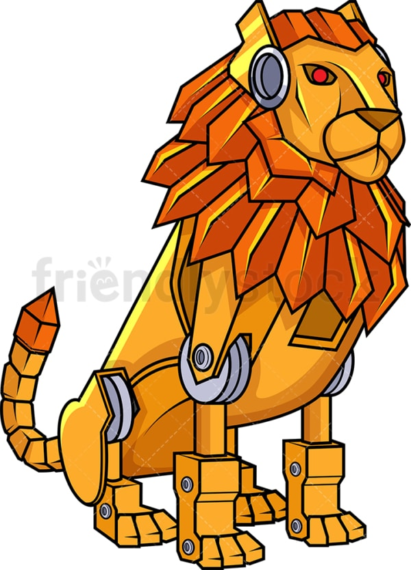 Robotic lion robot. PNG - JPG and vector EPS (infinitely scalable).