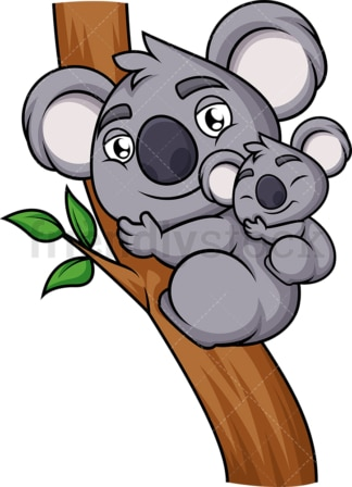 Mother and baby koala. PNG - JPG and vector EPS (infinitely scalable). Image isolated on transparent background.