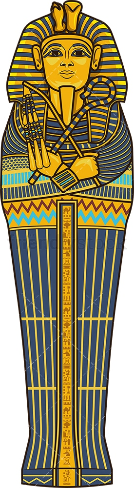 Pharaoh sarcophagus top view. PNG - JPG and vector EPS (infinitely scalable).