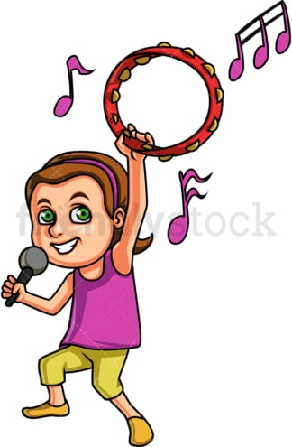 Singing girl with tambourine. PNG - JPG and vector EPS. Isolated on transparent background.