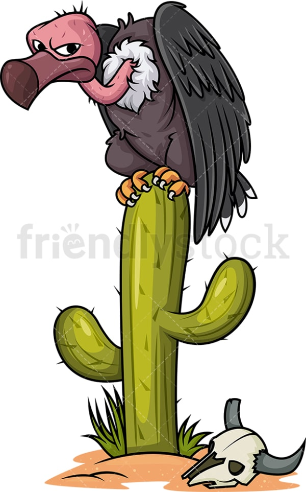 Vulture on cactus. PNG - JPG and vector EPS (infinitely scalable).