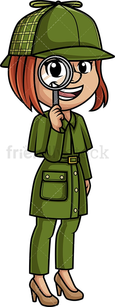Woman detective with magnifying glass. PNG - JPG and vector EPS (infinitely scalable).