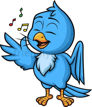 Blue bird singing. PNG - JPG and vector EPS (infinitely scalable). Image isolated on transparent background.