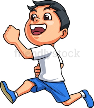 Happy boy running and laughing. PNG - JPG and vector EPS. Isolated on transparent background.