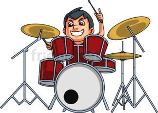 Little boy playing drums. PNG - JPG and vector EPS. Isolated on transparent background.