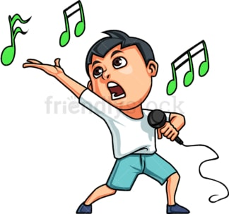 Kid singing. PNG - JPG and vector EPS. Isolated on transparent background.