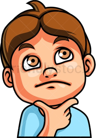 Little boy thinking face. PNG - JPG and vector EPS file formats (infinitely scalable). Image isolated on transparent background.
