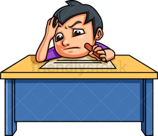 Kid writing an essay. PNG - JPG and vector EPS. Isolated on transparent background.