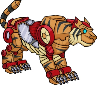 Robotic tiger robot. PNG - JPG and vector EPS (infinitely scalable).