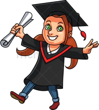 Girl holding diploma at graduation. PNG - JPG and vector EPS. Isolated on transparent background.
