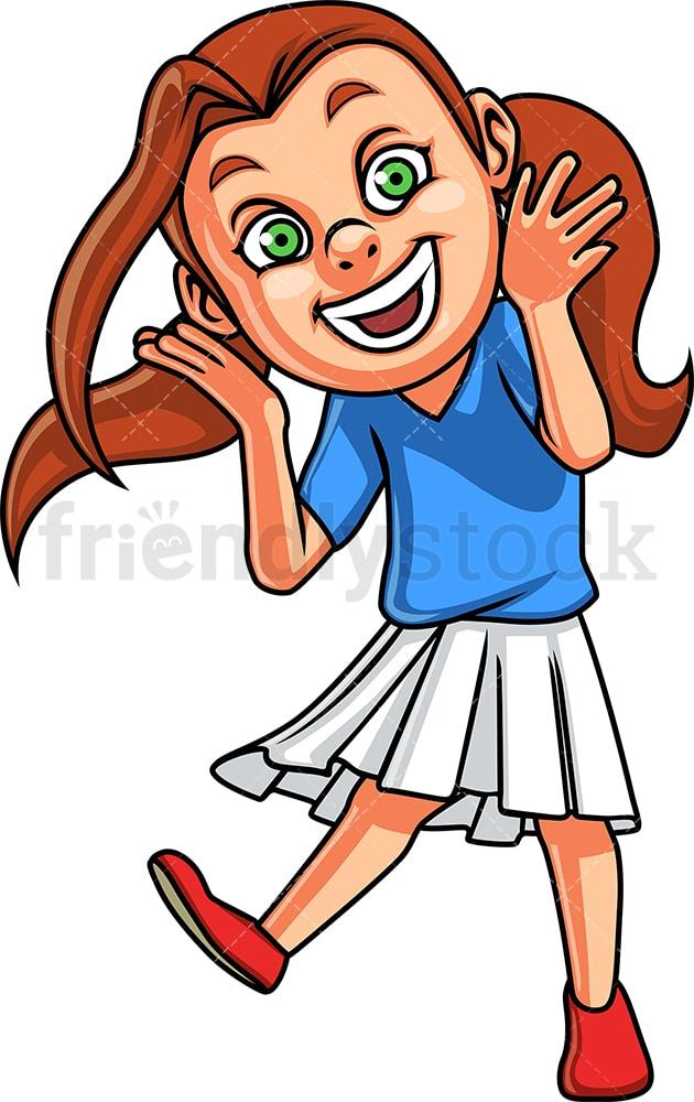 Caucasian Girl Laughing Cartoon Clipart Vector - FriendlyStock