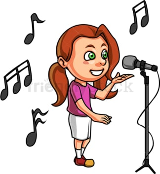 Caucasian little girl singing. PNG - JPG and vector EPS. Isolated on transparent background.