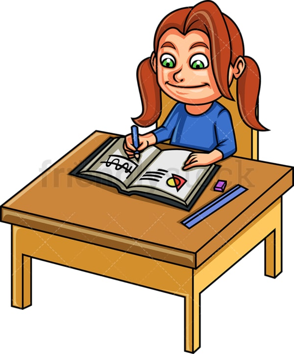 Little girl doing math. PNG - JPG and vector EPS. Isolated on transparent background.