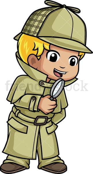 Little boy detective. PNG - JPG and vector EPS (infinitely scalable).