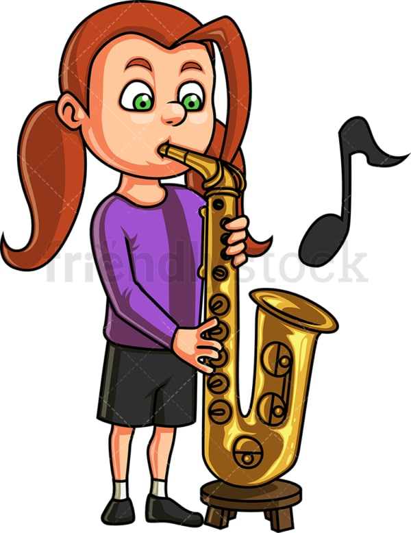 Kid girl playing saxophone. PNG - JPG and vector EPS. Isolated on transparent background.