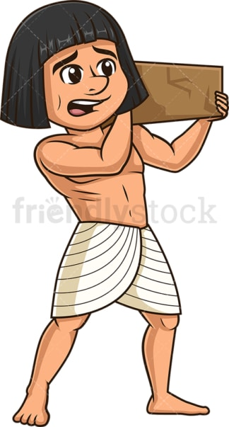 Ancient egyptian slave carrying brick. PNG - JPG and vector EPS file formats (infinitely scalable). Image isolated on transparent background.
