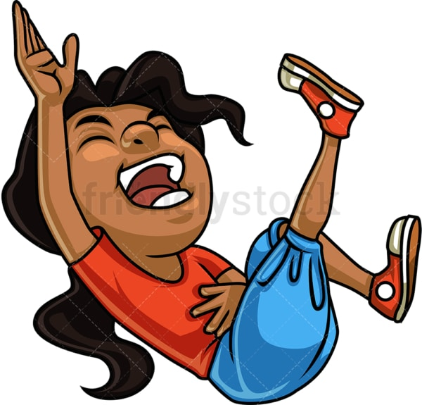 Black girl laughing. PNG - JPG and vector EPS. Isolated on transparent background.